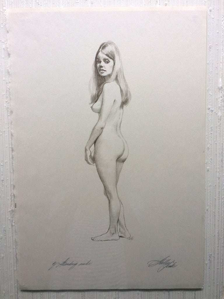 Pencil drawing standing nude signed illegibly dated 1969