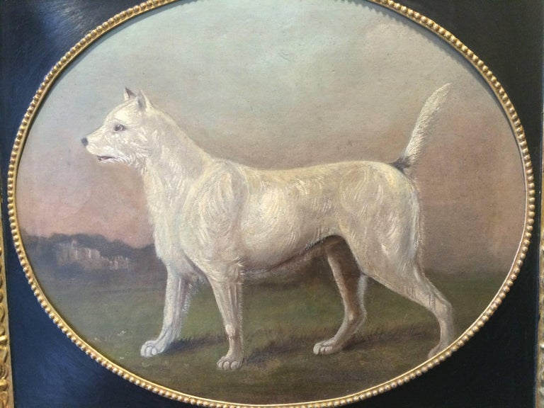 19th Century Primitive Portrait of a Dog - Painting by Gourlay Steell