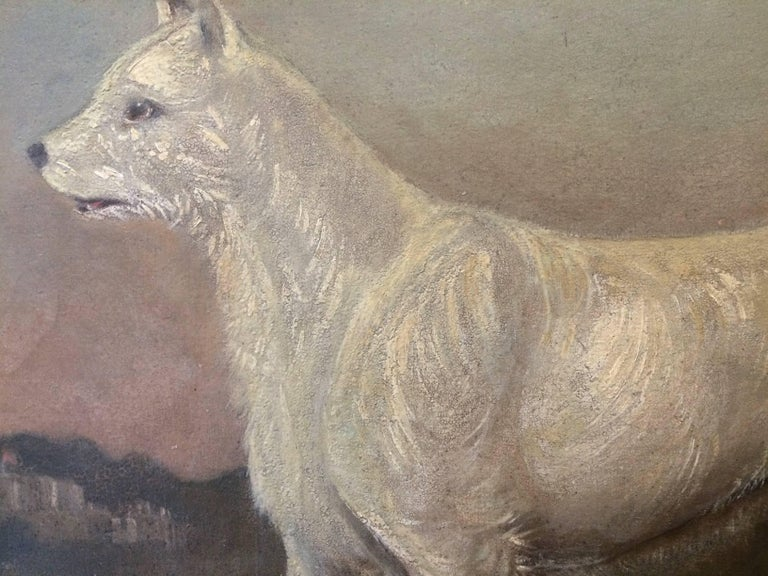 19th Century Primitive Portrait of a Dog - Tonalist Painting by Gourlay Steell