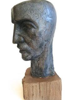 Head of a Man Brutalist Clay Sculpture