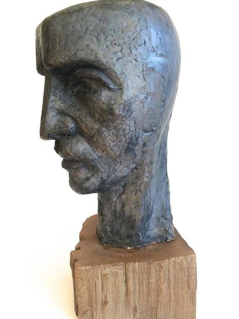 Head of a Man Modern Sculpture - Brown Figurative Sculpture by Donald Odysseus Mavros