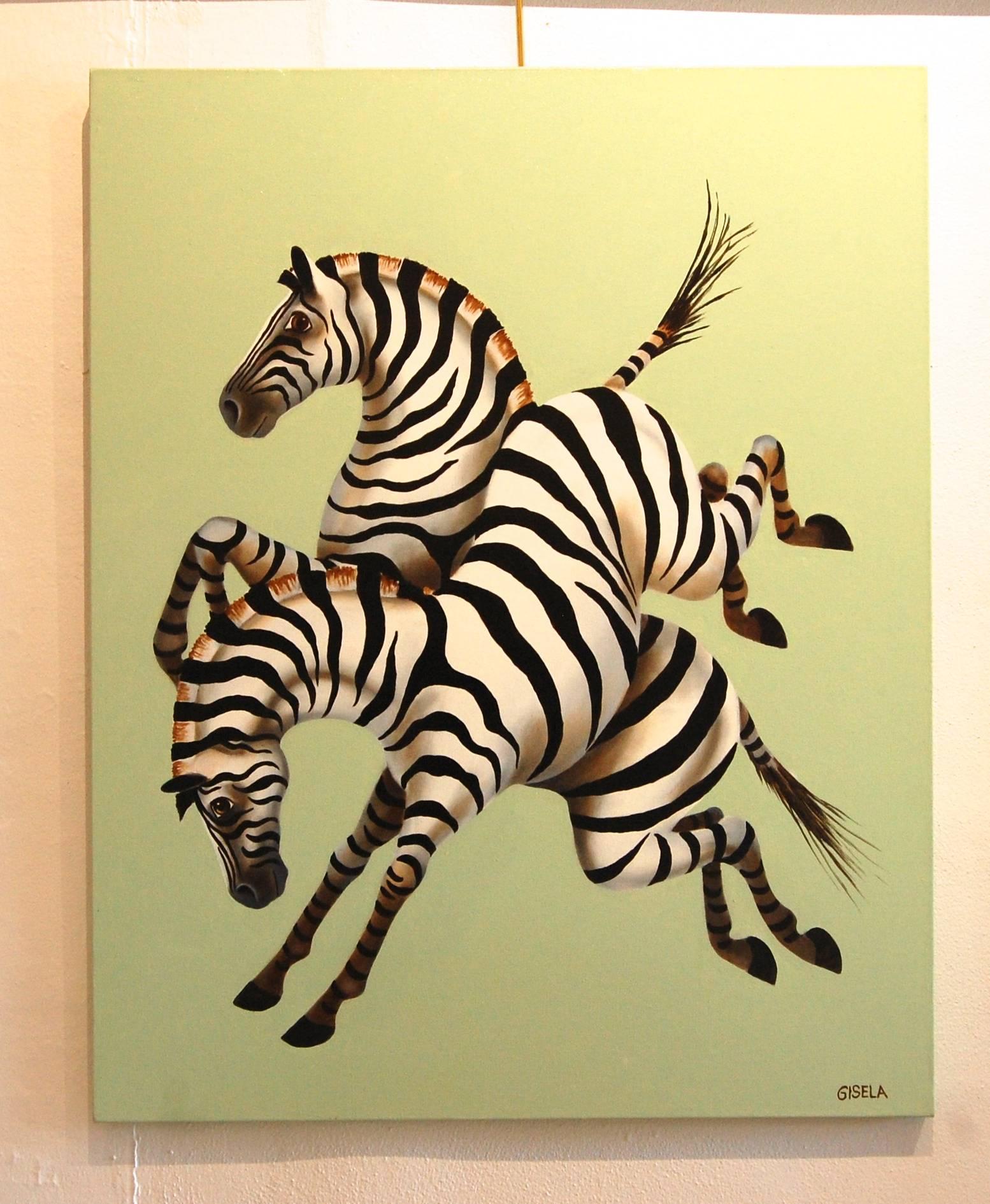 Gisela Pferdekamper - Happy Zebras, Painting For Sale at 1stdibs