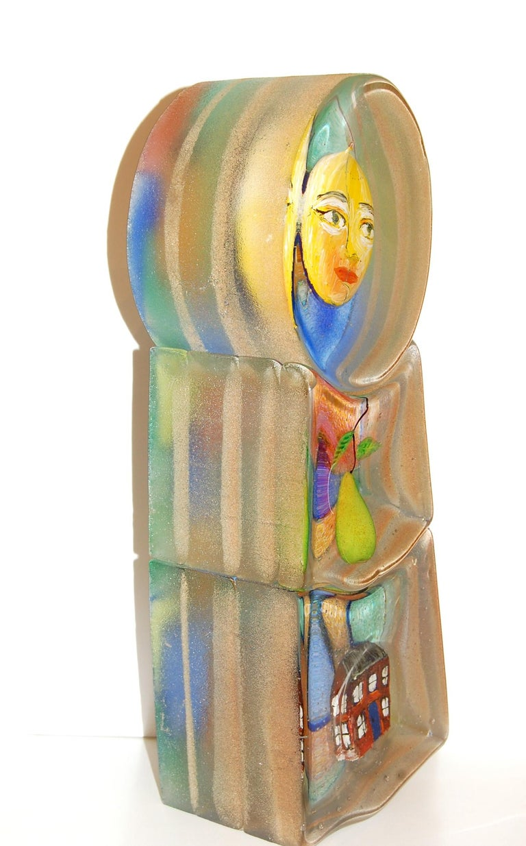 Art Glass Sculpture  - Brown Figurative Sculpture by Stephanie Trenchard