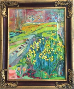 Yellow Irises Landscape Oil Painting