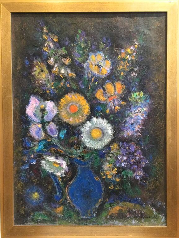 louis marchand de raux bouquet in blue vase painting. Black Bedroom Furniture Sets. Home Design Ideas