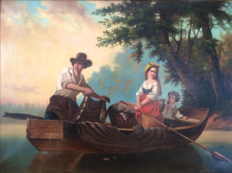 Fishing Italian School Large 19th Century - Painting by Unknown