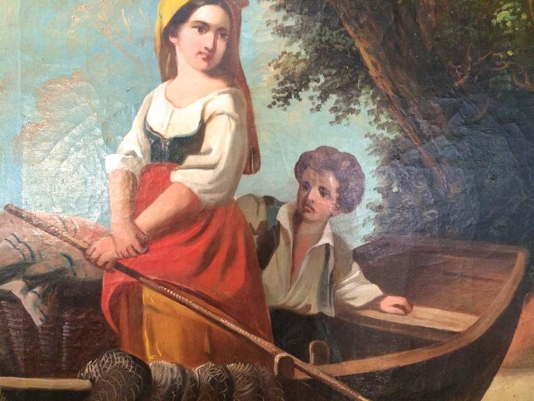 Fishing Italian School Large 19th Century For Sale 3