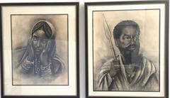 Pair of Pencil Drawings Woman and Man