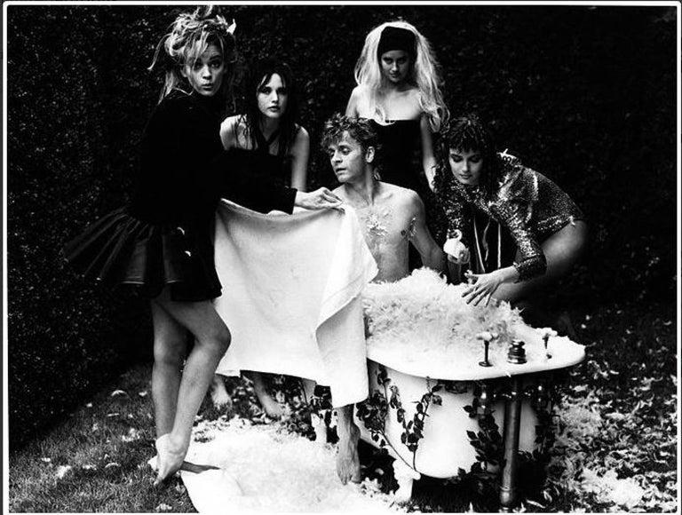 Arthur Elgort Black and White Photograph - Baryshnikov - Swan Prince: Bath in Feathers