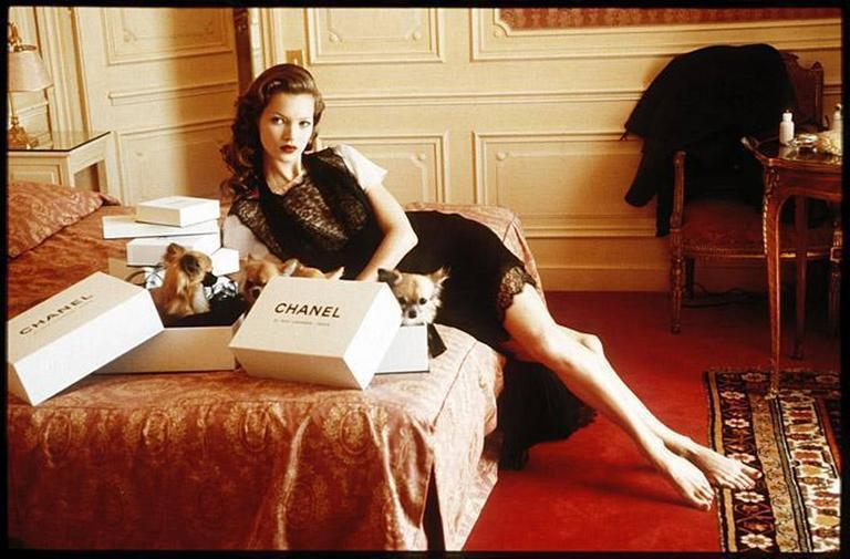 Arthur Elgort Color Photograph - Kate Moss at Hotel Raphael Room 609, Paris