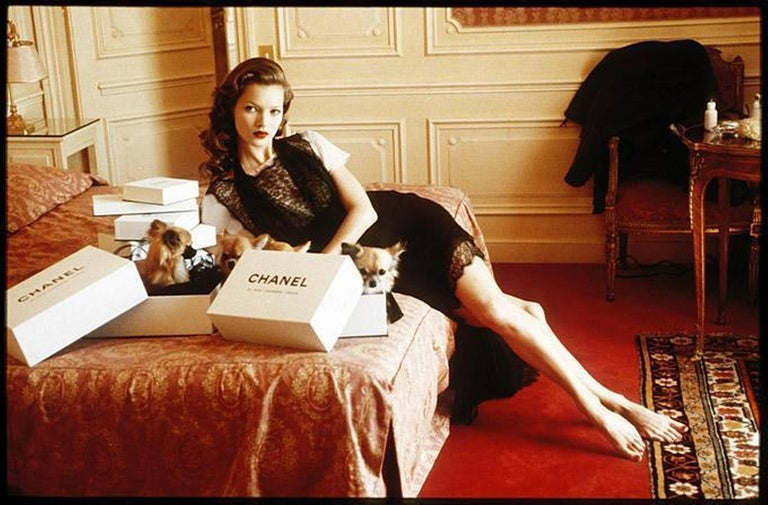 Arthur Elgort Color Photograph - Kate Moss at Hotel Raphael Room 609, Paris - the supermodel is dressed in Chanel