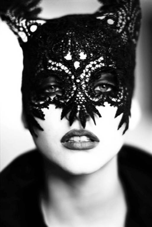 Ellen von Unwerth Black and White Photograph - The Mask (Nadja Auermann)