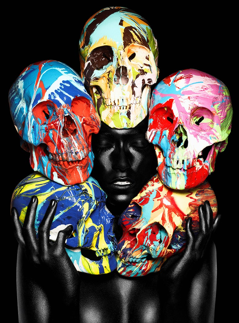 Rankin And Damien Hirst Painted Skulls Eyes Closed Photograph For Sale At 1stdibs