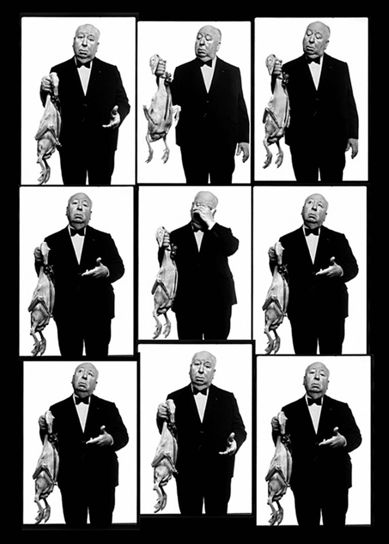 Albert Watson Black and White Photograph - Alfred Hitchcock with Goose Contact Sheet