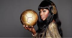 Naomi Campbell with soccer ball
