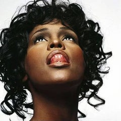Whitney Houston - portrait of the famous actress with her tongue out