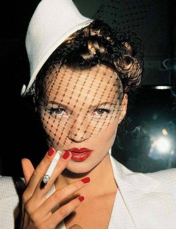 Roxanne Lowit Portrait Photograph - Kate with Fag in Galliano (Kate Moss)