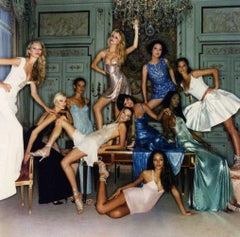 Supermodels -portrait of the famous 90's models dressed in Versace