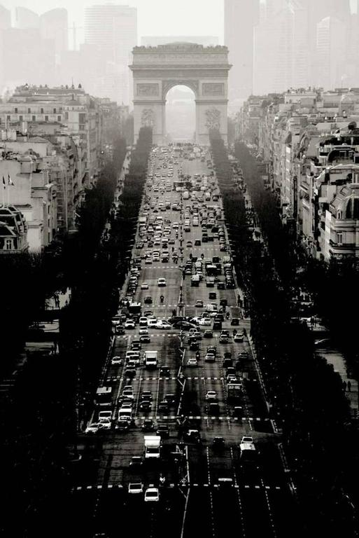 Andreas H. Bitesnich Black and White Photograph - Avenue des Champs-Elysees