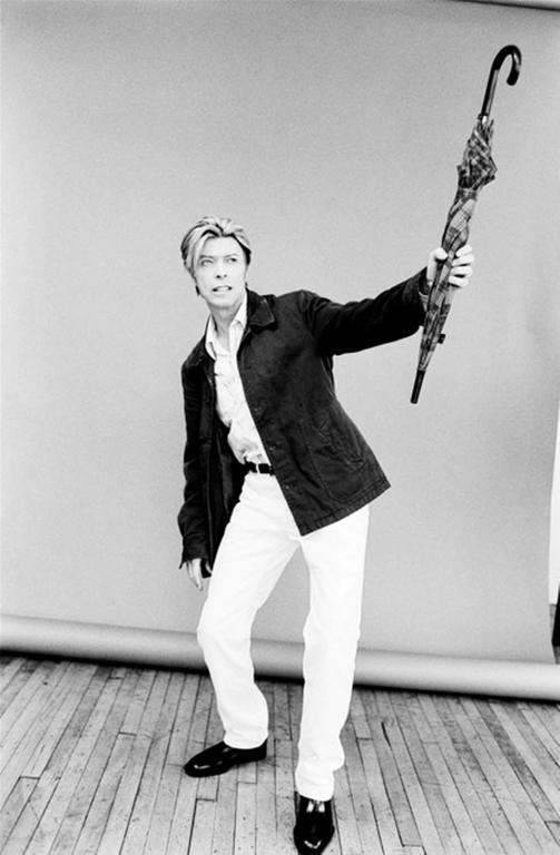 Ellen von Unwerth Black and White Photograph - David Bowie with Umbrella