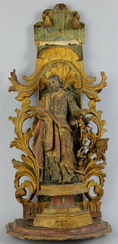 18th century Polychromed Statue of Saint Joseph