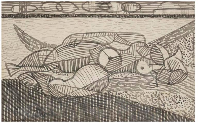 Louis Latapie Nude - Cubist reclining nude