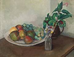 Still life with fruits and morning walk flowers