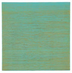 Silk Road 261, Green and Blue Encaustic Color Field Square Painting