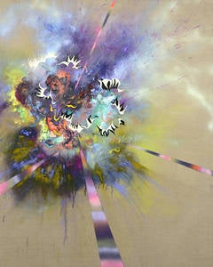 Ornament of Clear Realization, Multicolor Large Abstract in Purple, Pink, Yellow