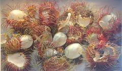 Irrational Exuberance, Horizontal Still Life Oil Painting, Jewel-Toned Rambutan