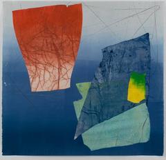 Silk and Stone Three, Medium Square Abstract Geometric Blue Yellow Red Print