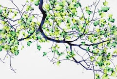 Bough Dip, Large Horizontal Botanical Painting on Mylar with Bright Green Leaves
