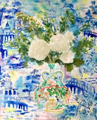 Viburnum Ming, White Flowers with Green Leaves, Multicolor Vase, Blue Wallpaper