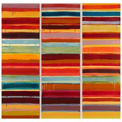 Uttar 291, Bask, Dramatic Striped Encaustic Painting in Red and Yellow Tones