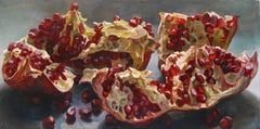 Pomegranates Reclining, Still Life Oil Painting, Red Pomegranate Gray Background