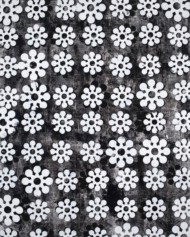 All Spiritual, Large Vertical Repetitive Graphic Black White Textile Painting