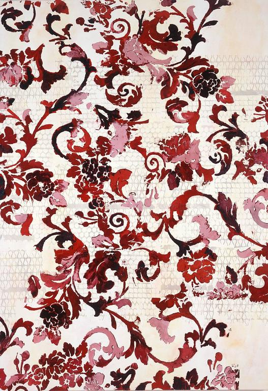 Juvenilia, Large Vertical Graphic Floral Textile Burgundy Red and Pink Painting