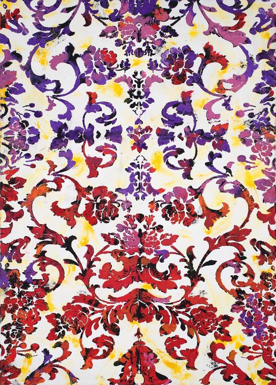 Lust Card, Large Vertical Floral Graphic Painting in Red, Purple, and Yellow