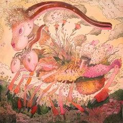Untitled, Pink Robot Rabbit with Flowers, Fantasy Landscape, Futuristic Creature