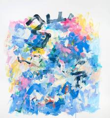 With a Little Luck, Large Abstract Oil Painting in Bright Blue and Pale Pink