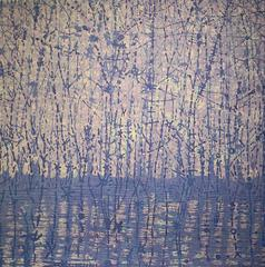 Stream Variation Two, Woodcut of Forest and Stream, Pale Lavender, Blue, Cream