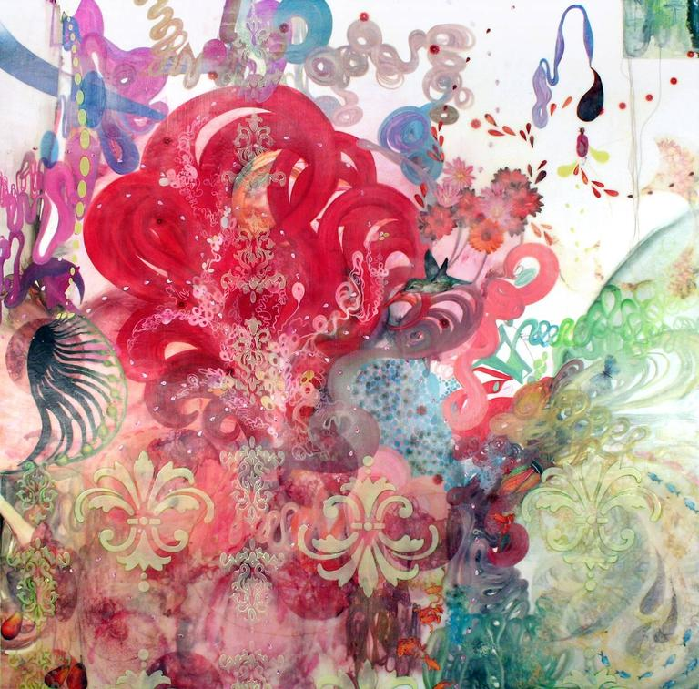 Spying on the Sun, Abstract Encaustic Painting in Red, Pink with Hummingbird