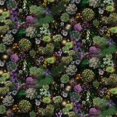 When Walls Drop Away the Sky is Wide Open, Green Purple Flowers Black Background