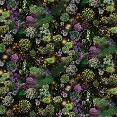When Walls Drop Away the Sky is Wide Open, Green Purple Flowers Black Background