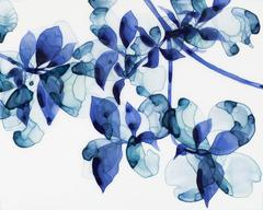 Abloom Study, Small Botanical Tree Painting on White Mylar in Shades of Blue
