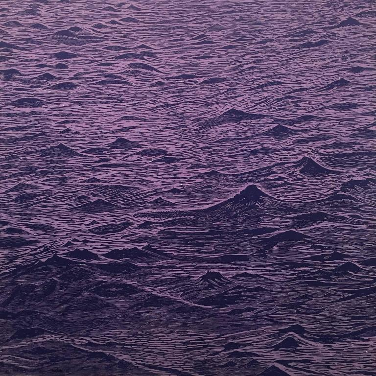 Eve Stockton Abstract Print - Seascape Variation One, Ocean Waves Woodcut in Pale Lavender and Dark Violet