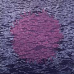 SeaBloom Variation 14, Woodcut, Ocean Waves and Floral Bloom, Purple and Pink