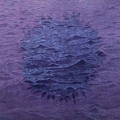 SeaBloom Variation 15, Woodcut, Ocean Waves and Floral Bloom in Shades of Purple