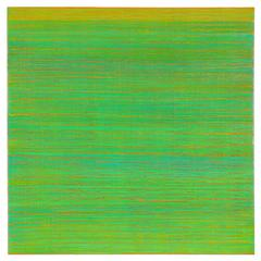 Silk Road 356, Color Field Bright Green Encaustic Square Painting