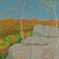 Overlook Oct. Wyatt Mt., Virginia Landscape in Autumn, Blue Sky, Colored Leaves